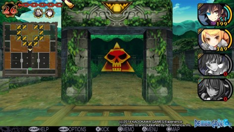Demon Gaze's dungeons may not be the most impressive things to look at in static screenshots, but their maps are well-designed and they're interesting to explore. And that, in this kind of game, is what counts.