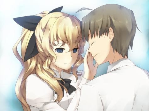 "Hisao has to quickly learn to adapt to Lilly's unique way of interacting with the world; relying on touch a lot more than sight, her way of ""seeing"" Hisao's face is a curiously intimate moment."