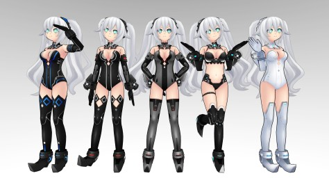 """Noire's various """"HDD"""" forms, representing several generations -- and prototypes -- of PlayStation hardware."""