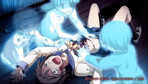 A particularly gruesome scene from Corpse Party: Book of Shadows -- and one of several possible conclusions to this character's tale.